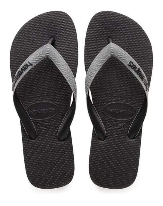HAVAIANAS TOP MIX in BLACK & STEEL GREY-2