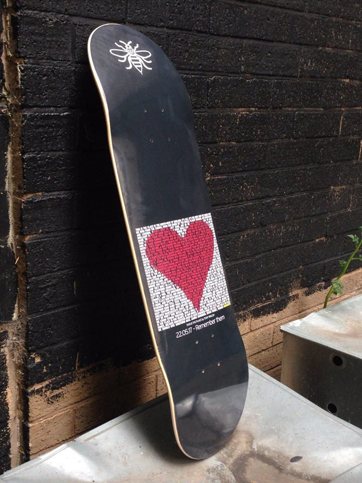 We Love Manchester (This is the place ) One off Tribute skateboard deck to be Auctioned