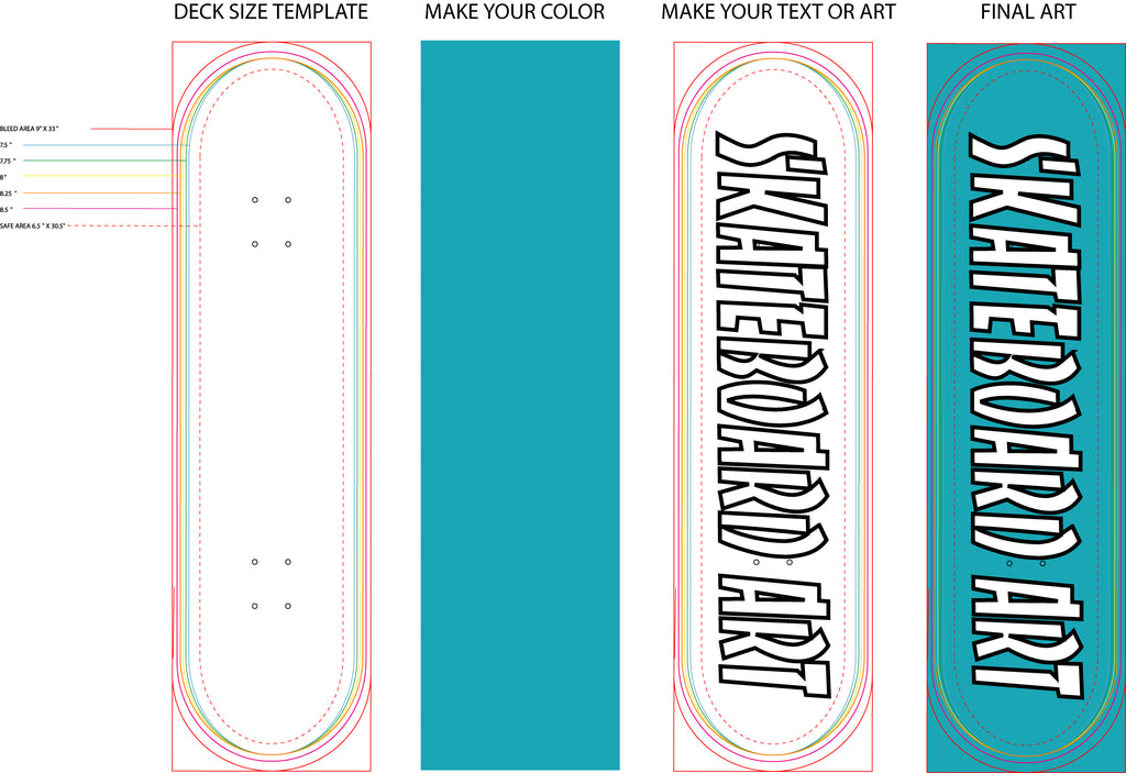 Your art or photo on a custom skate deck , skateboard in the UK ,simple art file example
