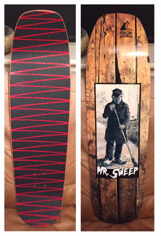 Custom skateboard deck on the shovel shape 9.0 for Mr.Sweep