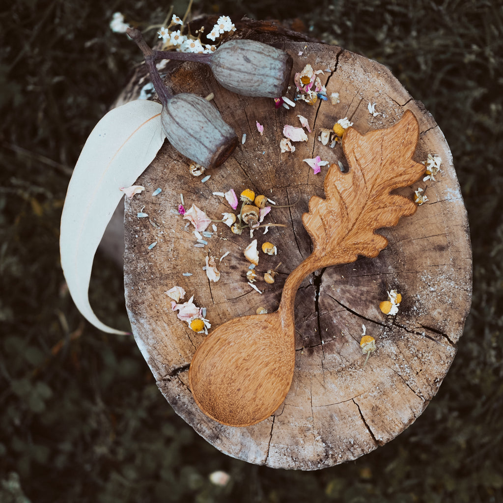 Handcrafted Leaf Spoon | Natural Play Tools - Wild Mountain Child