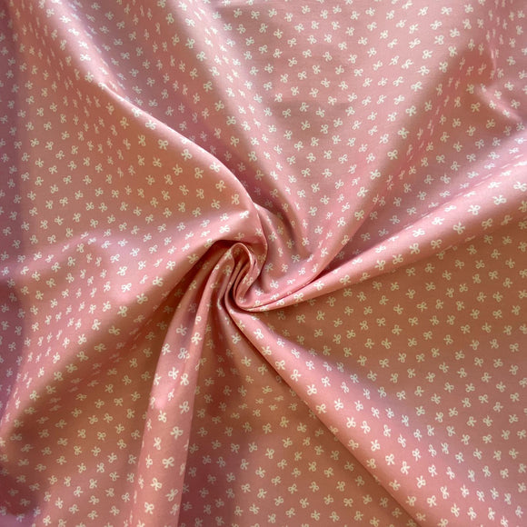 100% Cotton  - Baby Pink With Mini Bows - Sold by Half Metre
