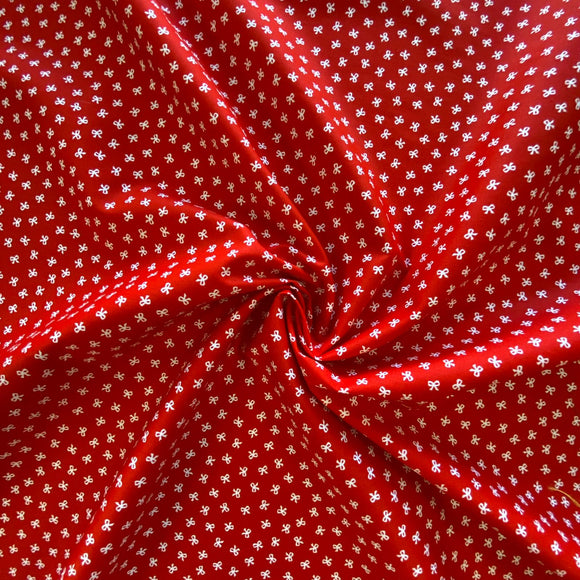 100% Cotton - Red With Mini White Bows - Sold by Half Metre