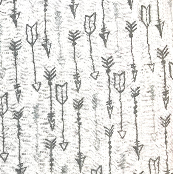 Double Gauze (Muslin) - Arrows - Sold by Half Meter