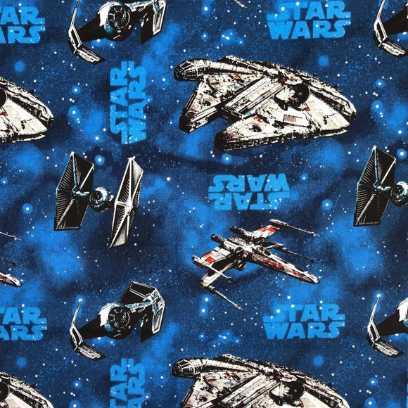 100% Cotton -Star Wars - Rebel Ships Blue - Sold By Half Metre
