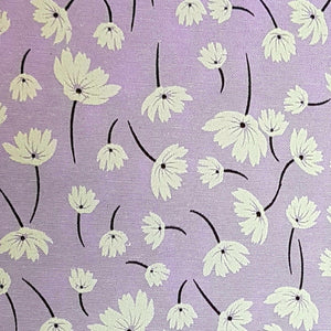 Polycotton Print -  Floral Art - Lilac - Sold by Half Metre