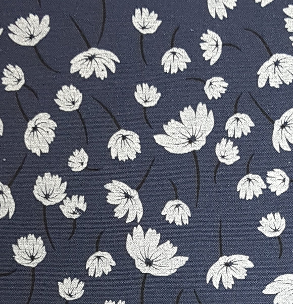 Polycotton Print -  Floral Art - Navy - Sold by Half Metre