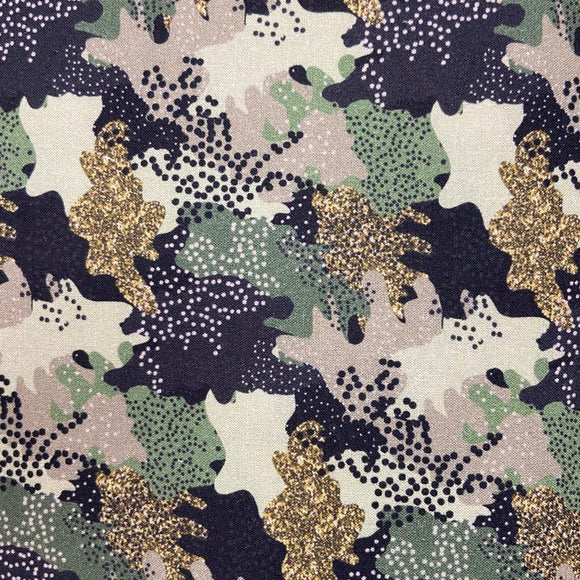 SALE 20% OFF 100% Cotton  - Sparkly Camouflage  - Sold by Half Metre