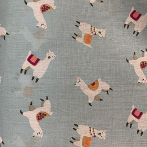 Polycotton - Llama Pale Blue - Sold by Half Metre
