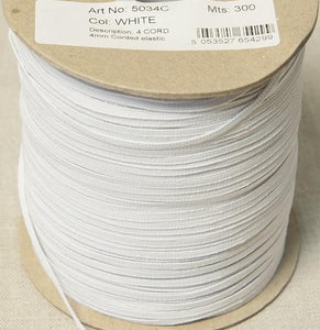 5mm Wide Knitted Elastic - White