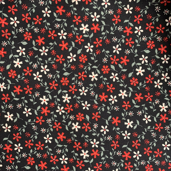 100% Cotton Fat Quarter - White and Red Ditsy Floral