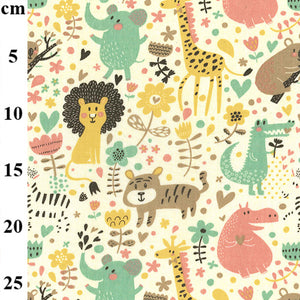 Polycotton Print  - Pastel Jungle  - Sold by Half Metre