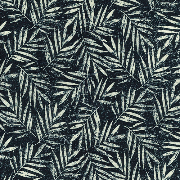 Linen Viscose - Summer Leaves - Navy - Sold By Half Metre