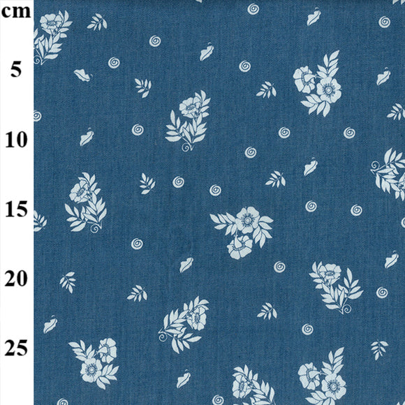 Printed Denim - Small White Floral - Sold by Half Metre
