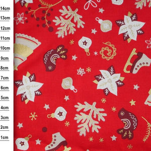 100% Cotton - Christmas Skating, Tree and Birds  - Red - Sold by Half Metre