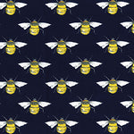 100% Cotton Poplin - Bees - Navy
