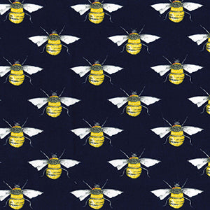 100% Cotton Poplin - Bees - Navy - Sold by Half Metre