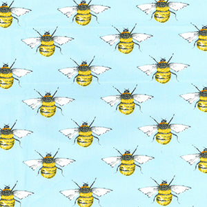 100% Cotton Poplin - Bees - Blue - Sold by Half Metre