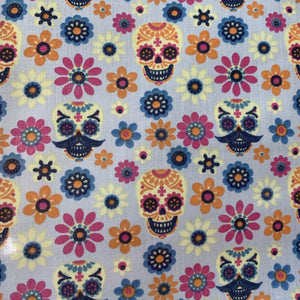 Halloween Polycotton Print  - Halloween Skulls - Silver - Sold by Half Metre