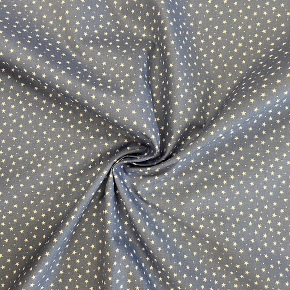 100% Cotton Fat Quarter - Ditsy Star - Denim Blue