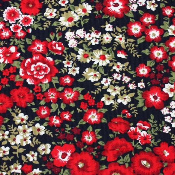 SALE 20% OFF Fine Needlecord - Floral - Red - Sold by Half Metre