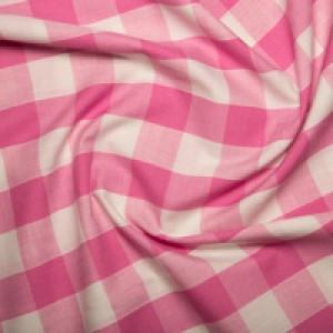 "Remnant 1510215 0.9m Polycotton 1"" Gingham Pink 112cm Wide"