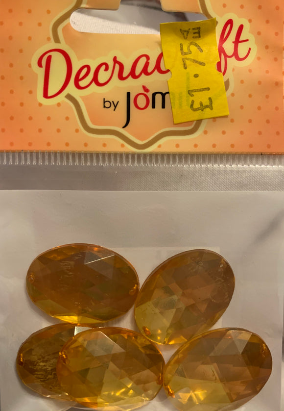 Sew On Diamante Stones - Oval - Amber