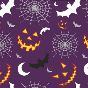 100% Cotton Poplin - Halloween Night Time - Purple - Sold By Half Metre