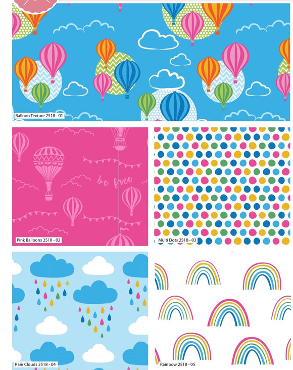100% Cotton Fat Quarters - Rainbow/Hot Air Balloon