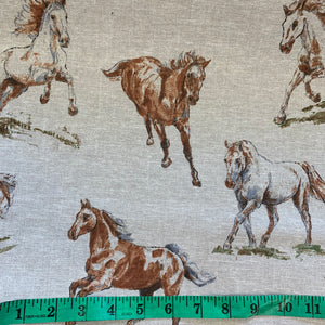 Linen look - Galloping Horses - Sold By Half Metre