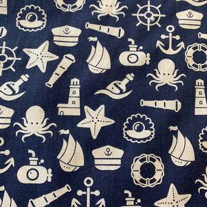 Polycotton Print - Nautical Cartoon - Sold by Half Metre