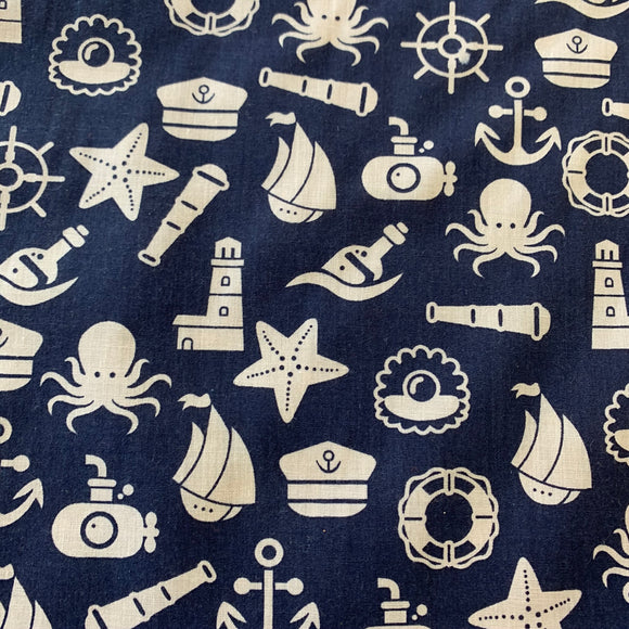 Remnant 30814 2.4m Polycotton Cartoon Nautical 112cm Wide