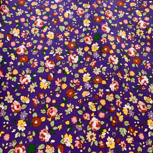 100% Cotton Fat Quarter - Dolly Floral Purple