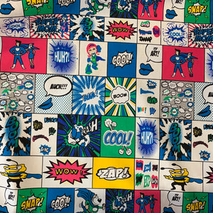 100% Cotton  -Comic Strip Blue/Pink - Sold by Half Metre