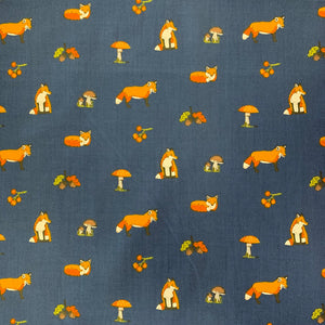 Polycotton Print - Foxes - Navy - Sold by Half Metre