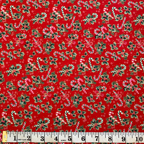100% Cotton Christmas - Candy Canes and Holly - Red - Sold by Half Metre