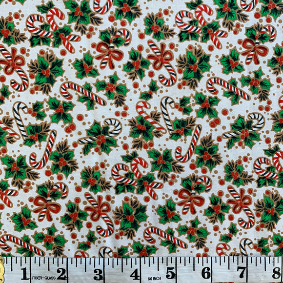 100% Cotton Christmas - Candy Canes and Holly - White - Sold by Half Metre