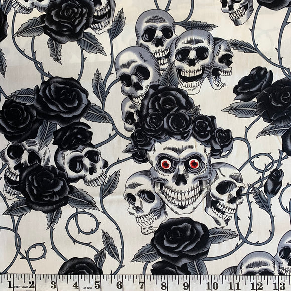 100% Cotton - Skull and Roses - Black/White - Sold by Half Metre