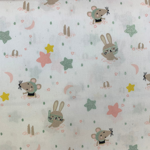 100% Cotton  - Swimming Animals Designed for you by Poppy - White - Sold by Half Metre