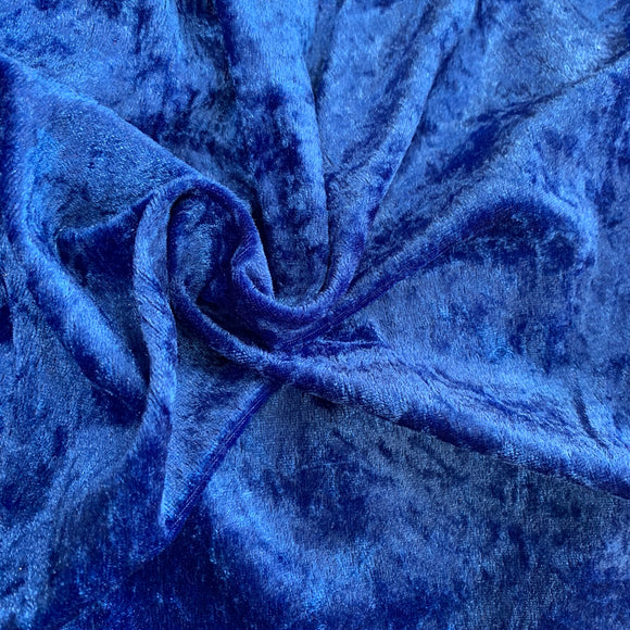 Remnant 308060 1.45m Crushed Velvet Royal Blue 150cm Wide