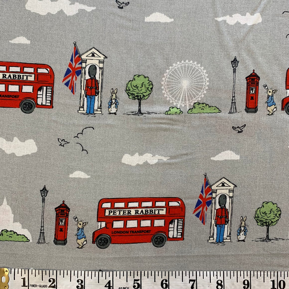 100% Cotton - Peter Rabbit's Bus Ride to Buckingham Palace - Sold By Half Metre