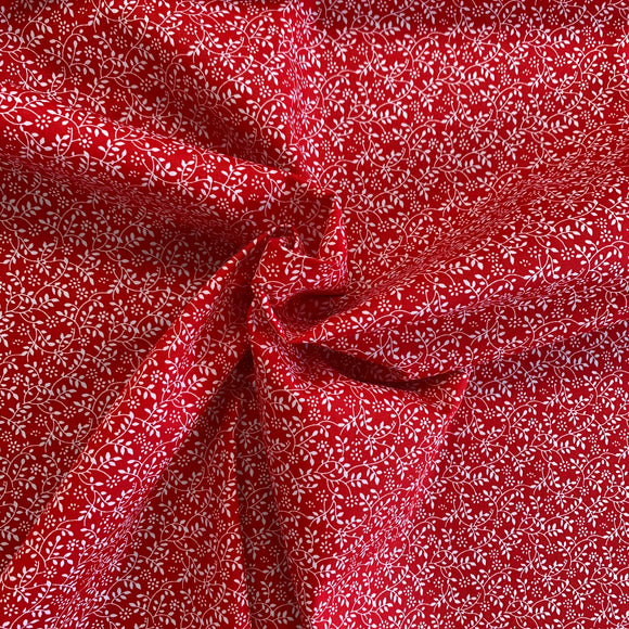 100% Cotton  - Tangled Leaves - Red - Sold by Half Metre