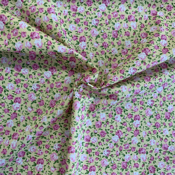 100% Cotton Fat Quarter - Catherine Rose - Yellow/Pink