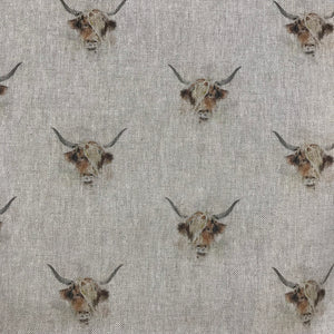 Linen look - Highland Cow - Sold By Half Metre