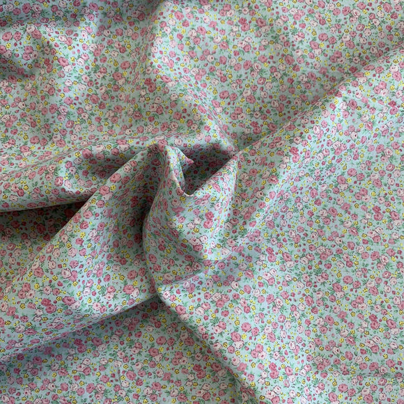 100% Cotton  - Gin Rose - Green - Sold by Half Metre