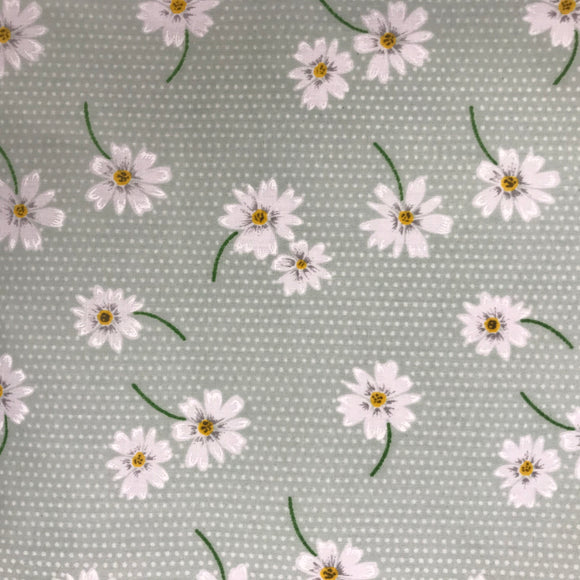 Polycotton Print - Daisy - Sage - Sold by Half Metre