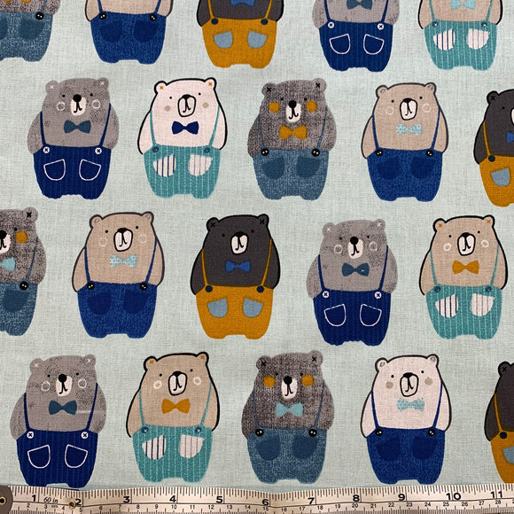 100% Cotton  - Teddy Bear - Blue - Sold by Half Metre