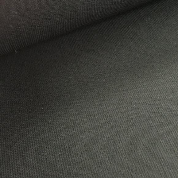 Polyester Wool Mix - Black Fine Rib - Sold by Half Metre