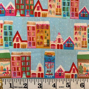 100% Cotton  - Christmas Town House - Sold By Half Metre