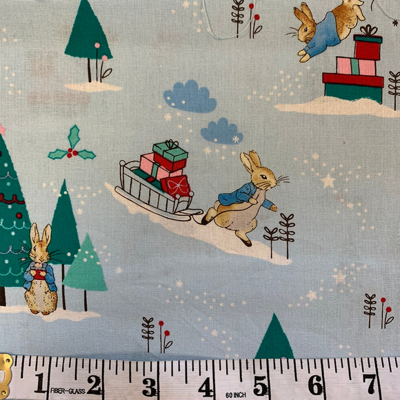 SALE 50% OFF - 100% Cotton - Peter Rabbit Christmas Delivering Presents - Sold by Half Metre